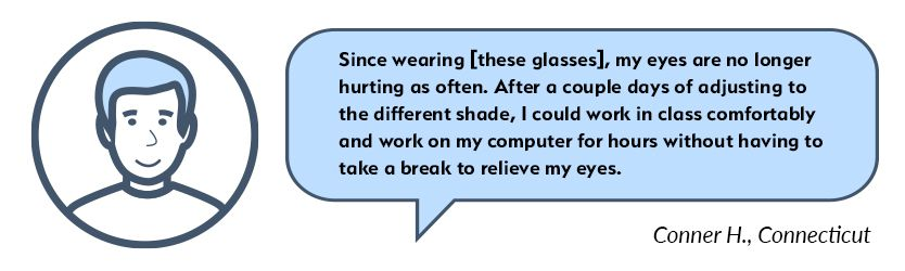 Conner Migraine Glasses Testimonial
