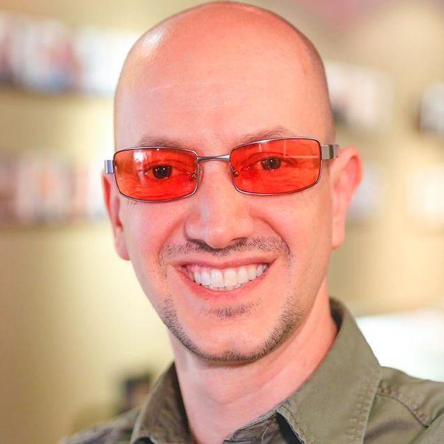 David wearing indoor TheraSpecs, Haven frame