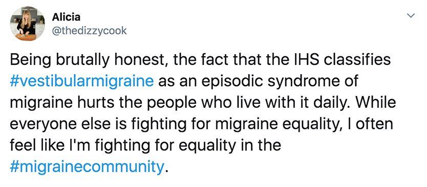 Tweet from the dizzy cook about vestibular migraine