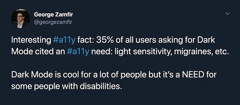 George Zamfir, Slack Accessibility, Tweet Screenshot