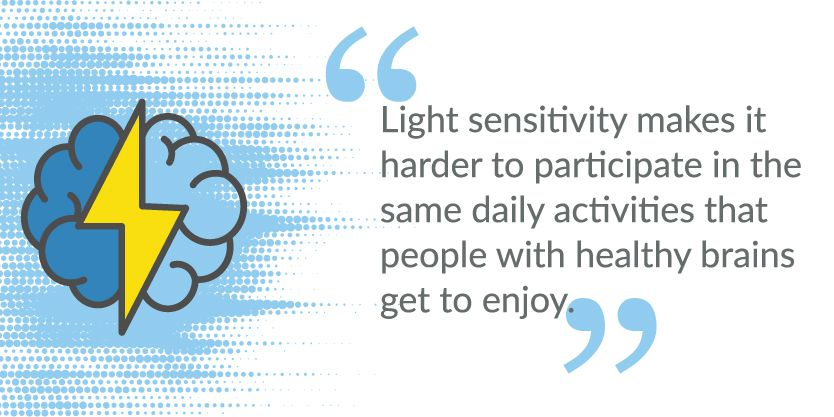 Quote about Debilitating Impact of TBI-caused Light Sensitivity