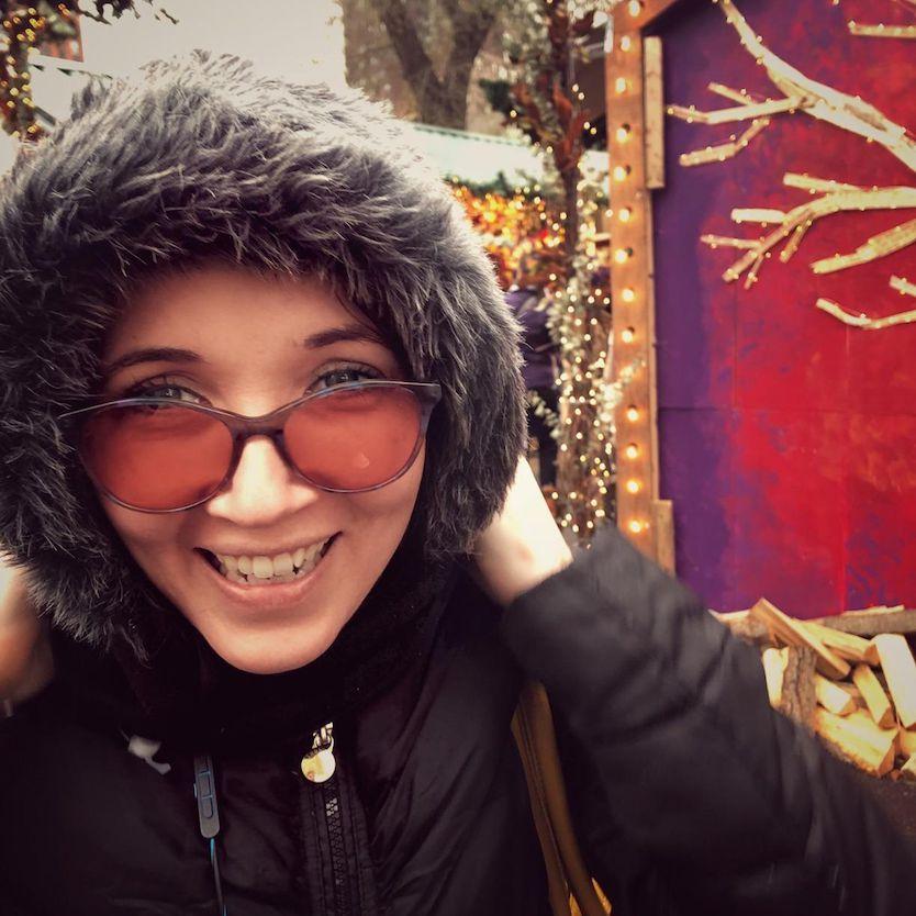 Jacqueline Wearing Audrey Indoor TheraSpecs in the Winter