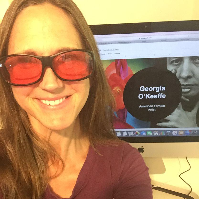 Karin wearing indoor WearOver TheraSpecs