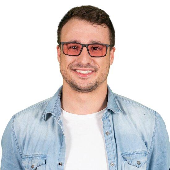 Man wearing Mercer TheraSpecs in Black with indoor lenses