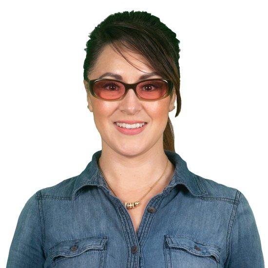 Adult Woman Wearing Petite Nora TheraSpecs Brown Indoor