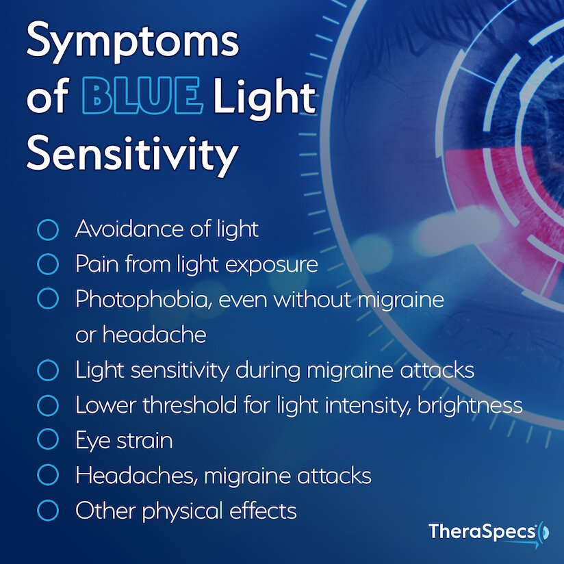 Infographic of symptoms resulting from blue light sensitivity