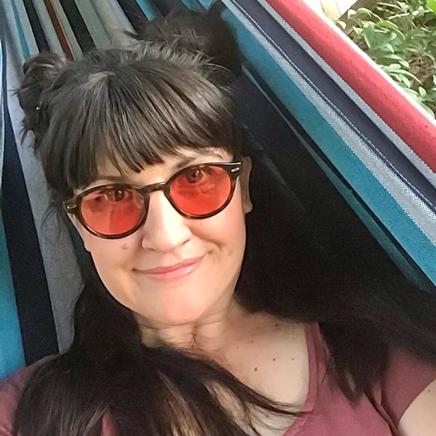 Tara wearing indoor TheraSpecs, Keaton frame