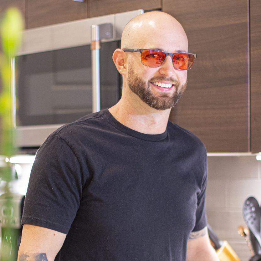 Man wearing indoor TheraSpecs