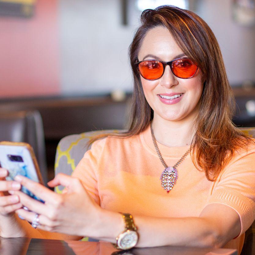 Woman wearing indoor TheraSpecs