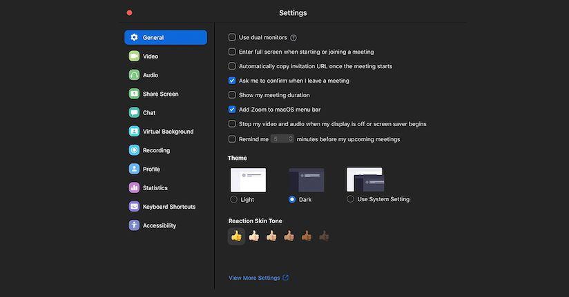 Screenshot of Zoom Dark Mode