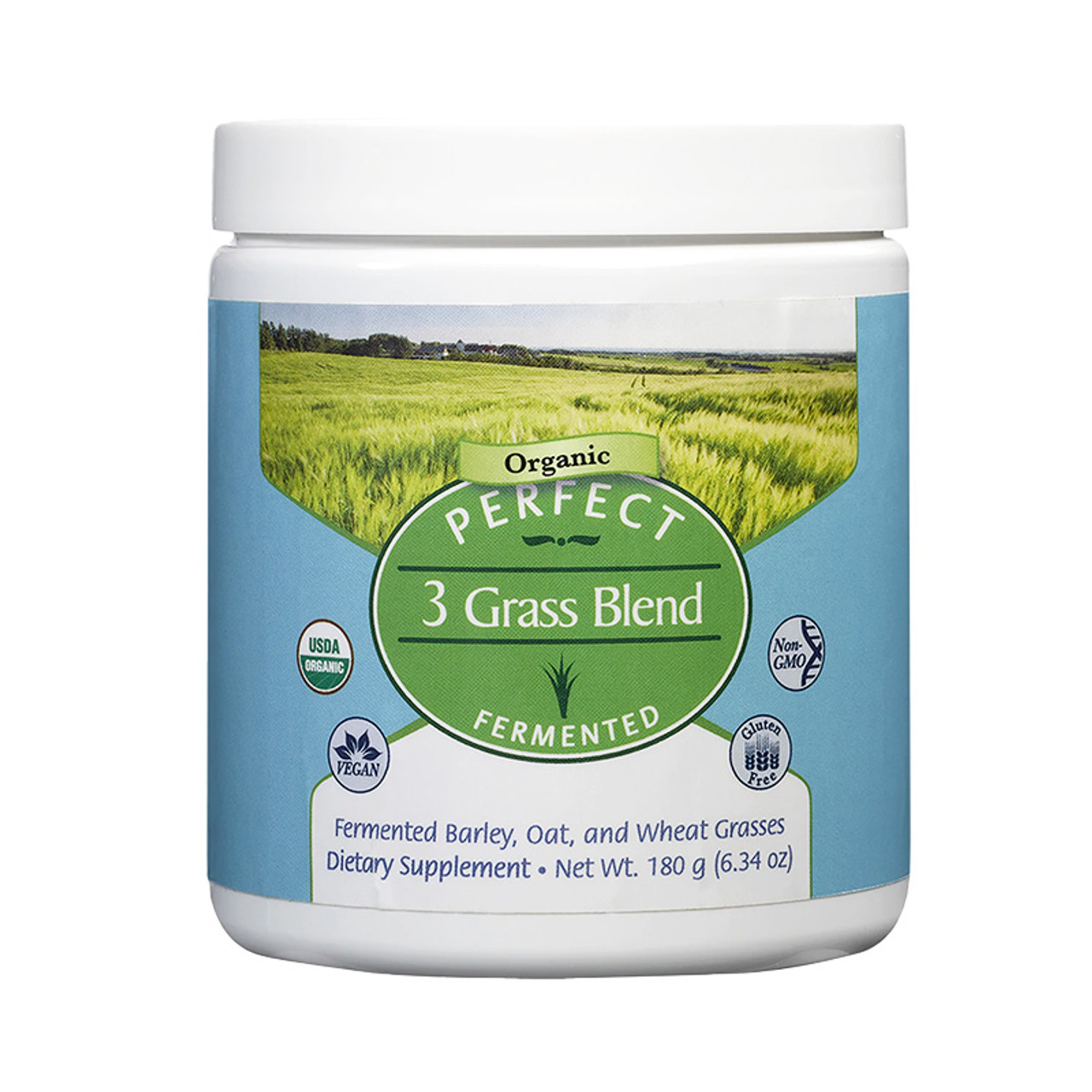 Front view of a container of Perfect 3 Grass Blend, fermented Barley, oat and wheat grass dietary supplement from Perfect Supplement.