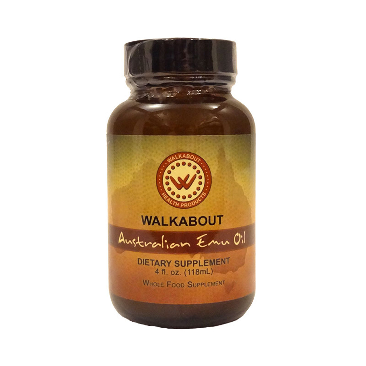 Picture of a 4 oz bottle of Walkabout Australian Emu Oil Liquid dietary  supplement.