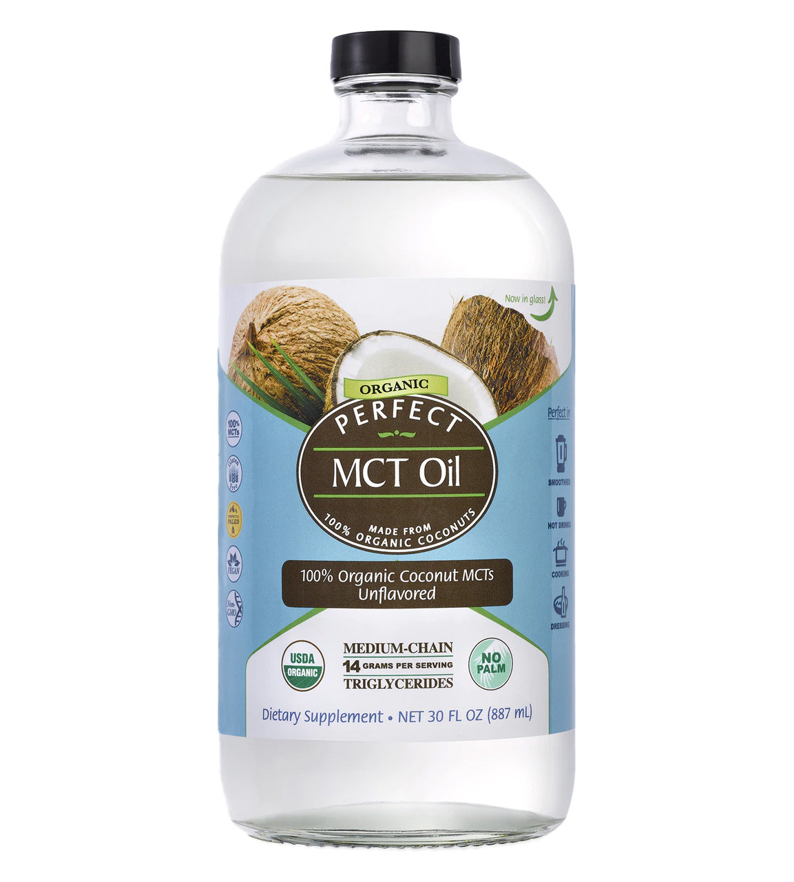 Front view of a bottle of Perfect MCT Oil, medium chain triglycerides from 100% organic coconuts.