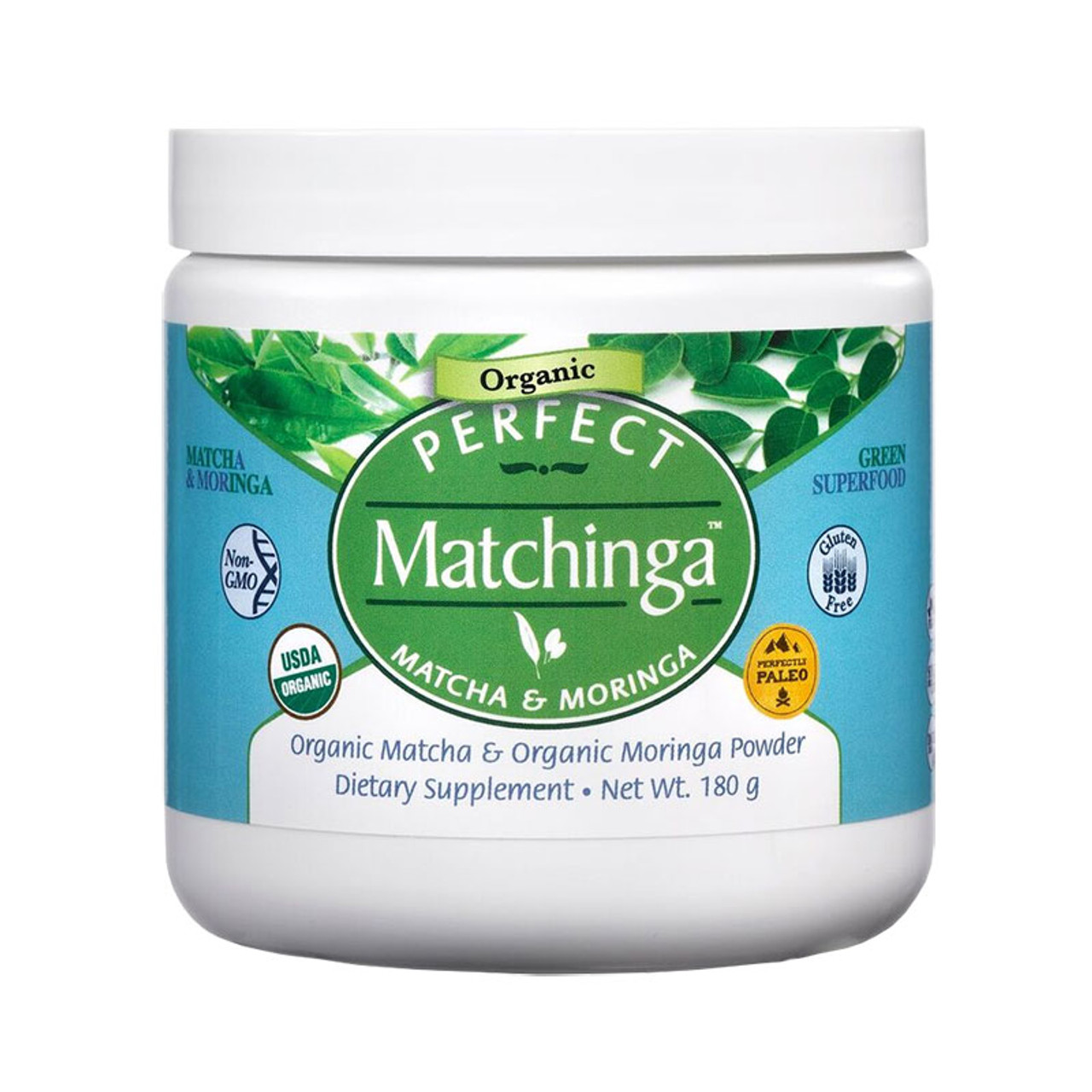 View of the front of Perfect Supplements Matchinga, a 50/50 organic blend of matcha green tea and moringa.
