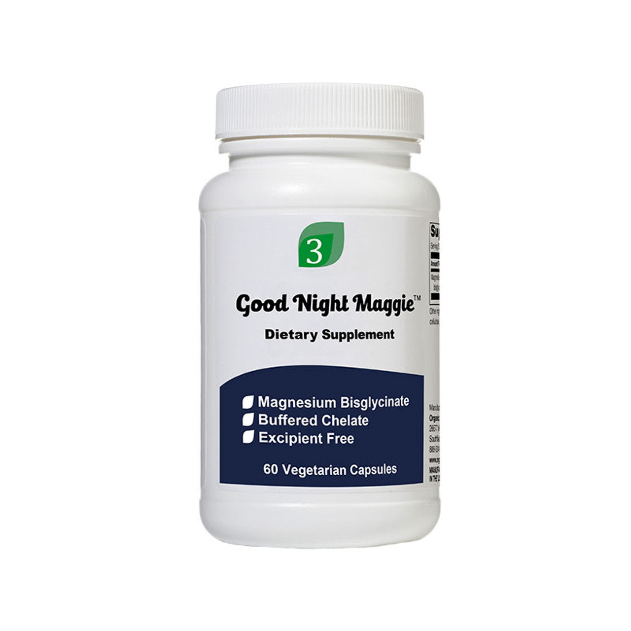 Front view of a bottle of Good Night Maggie magnesium supplement from Organic3.