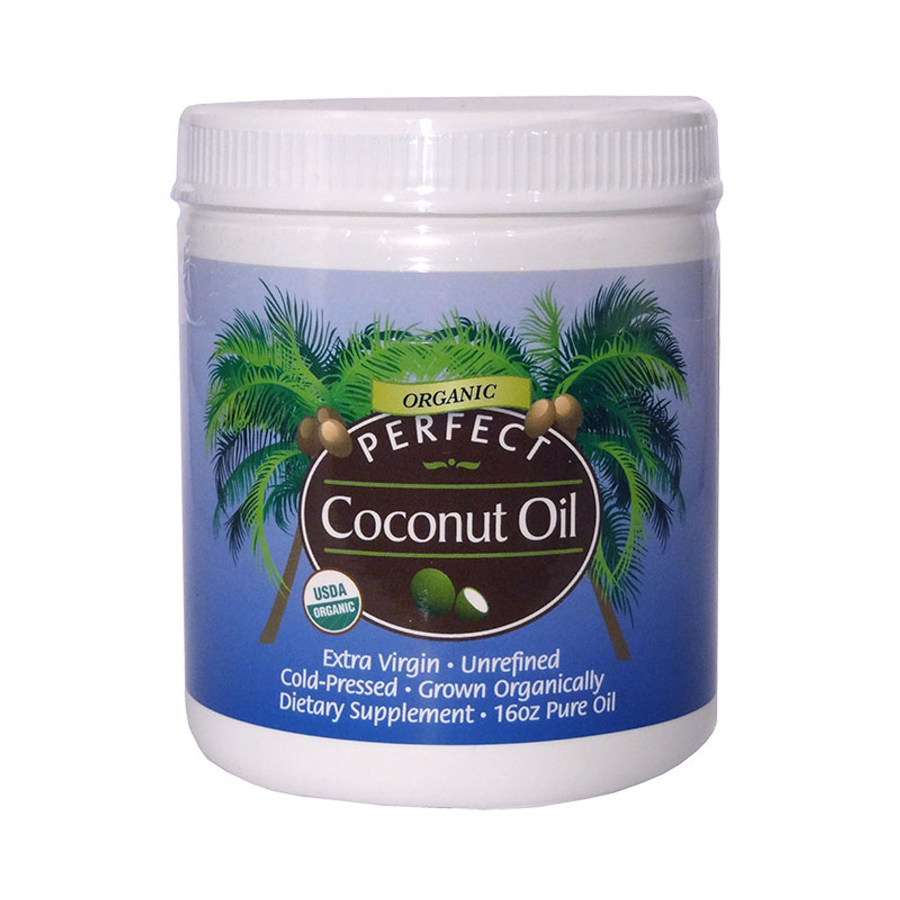 Front view of a bottle of Perfect Supplements Extra Virgin, Organic Coconut Oil in a 1 lb tub.