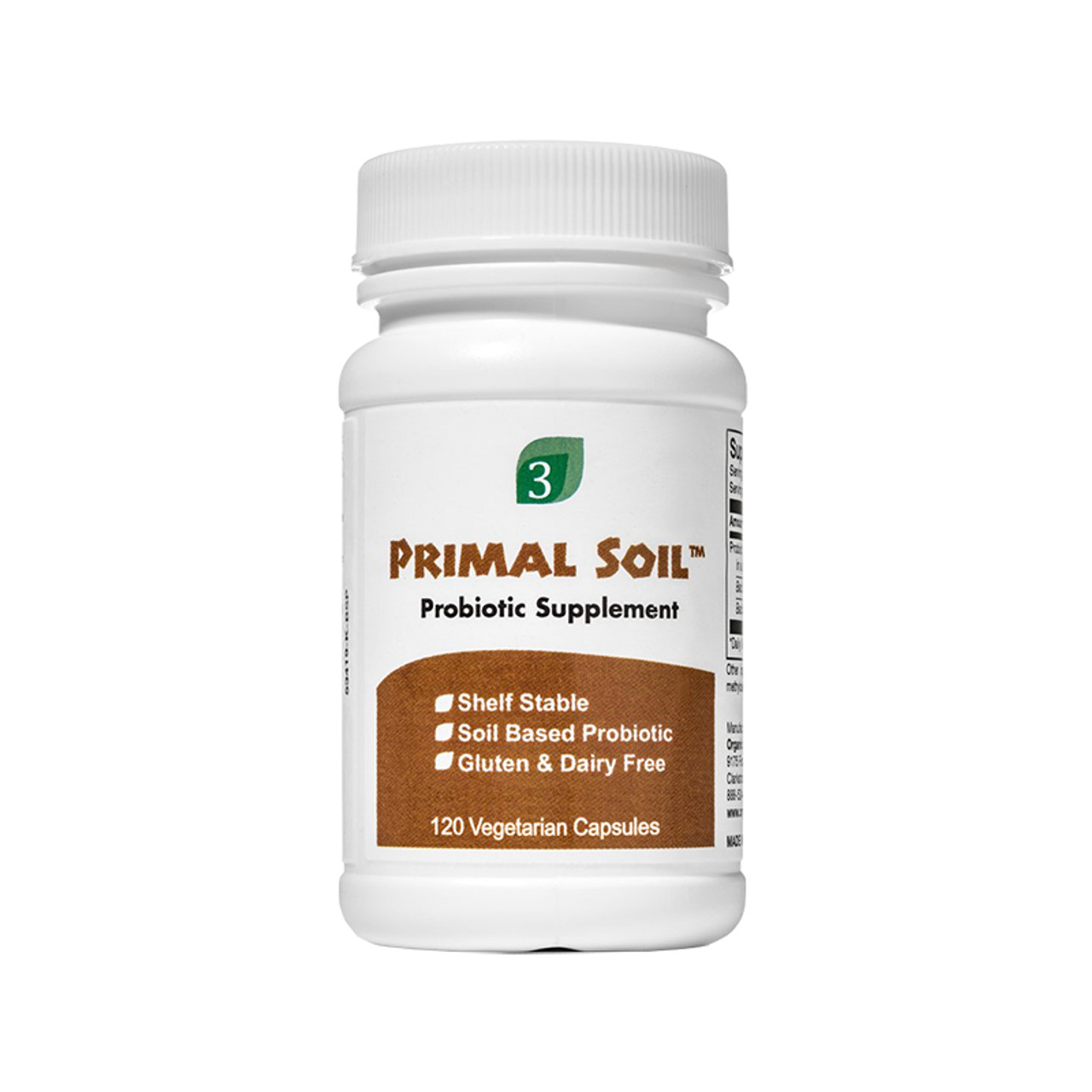 Front view of Organic3 Primal Soil Probiotic Supplement.