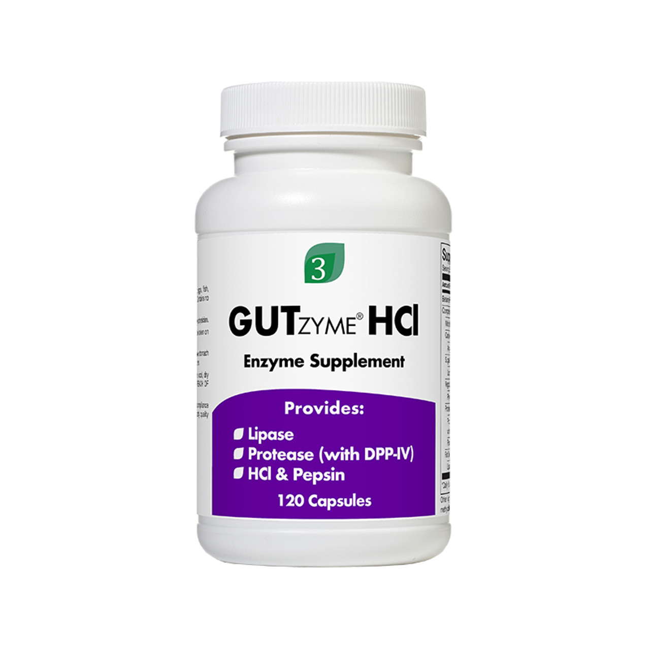 Front view of a bottle of Organic3 GutZyme HCl Digestive Enzyme supplement.
