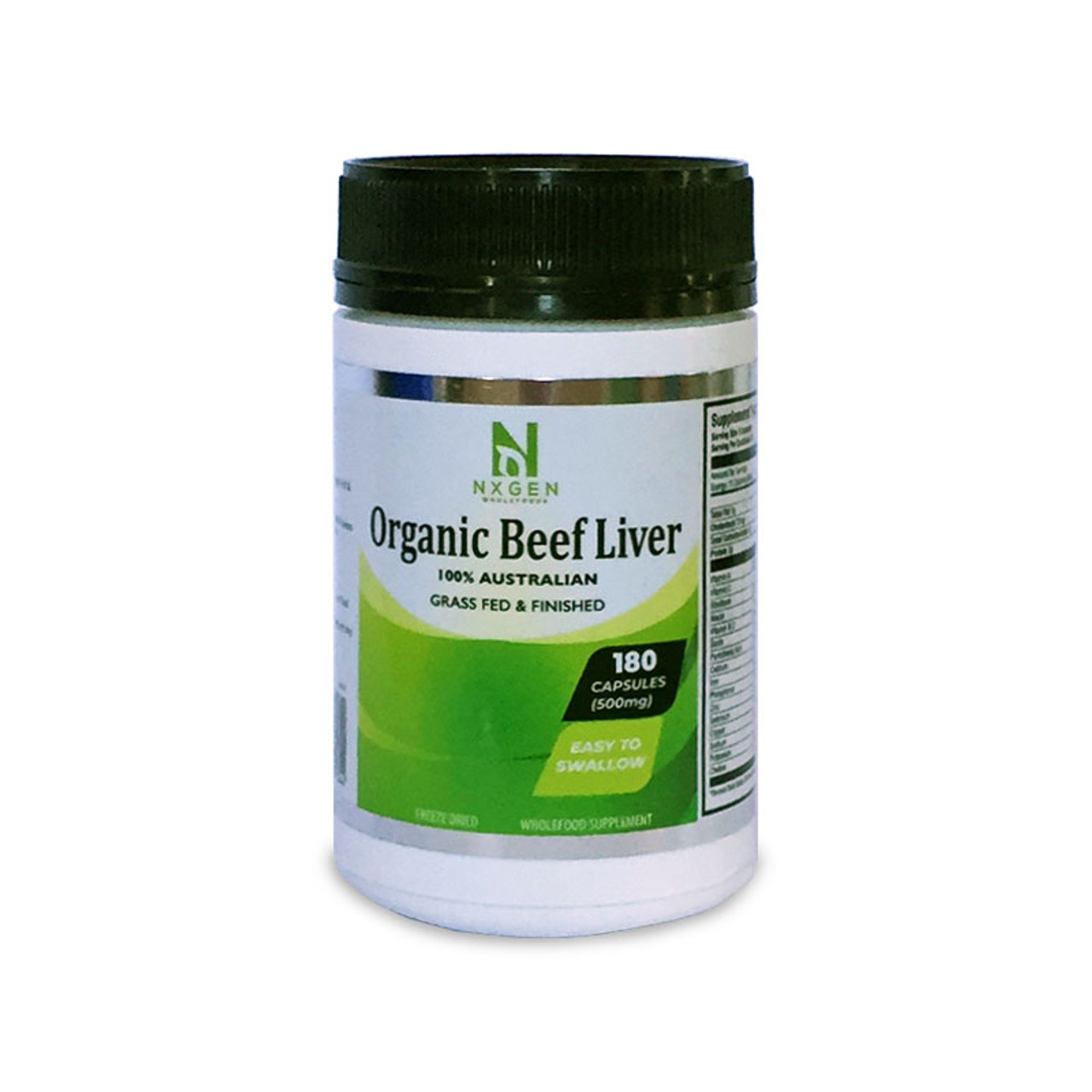 Front view of a bottle of NXGEN 100% Organic Beef Liver from Australian Grass-fed cows.