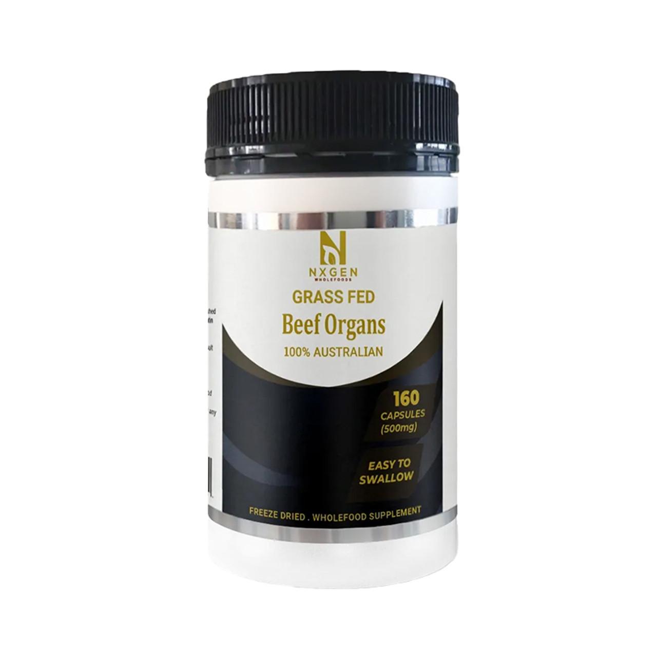 Front view of a bottle of NXGEN 100% Australian Beef Organs supplement.