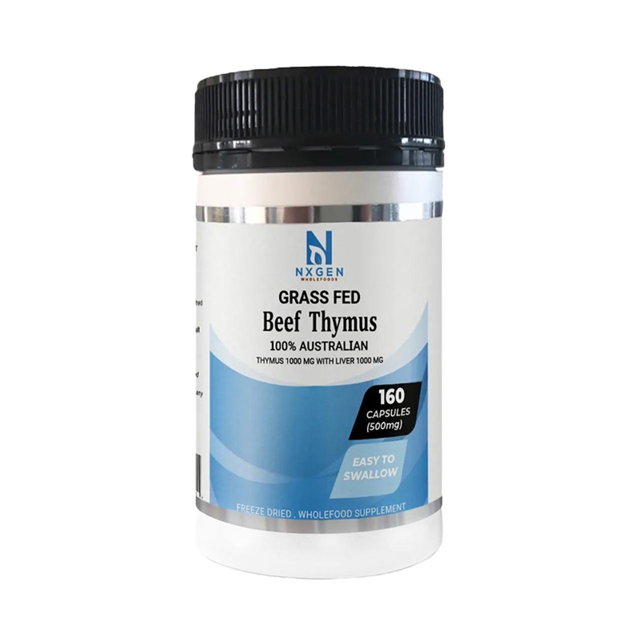 Front view of a bottle of NXGEN 100% Australian Grass-Fed Beef Thymus.