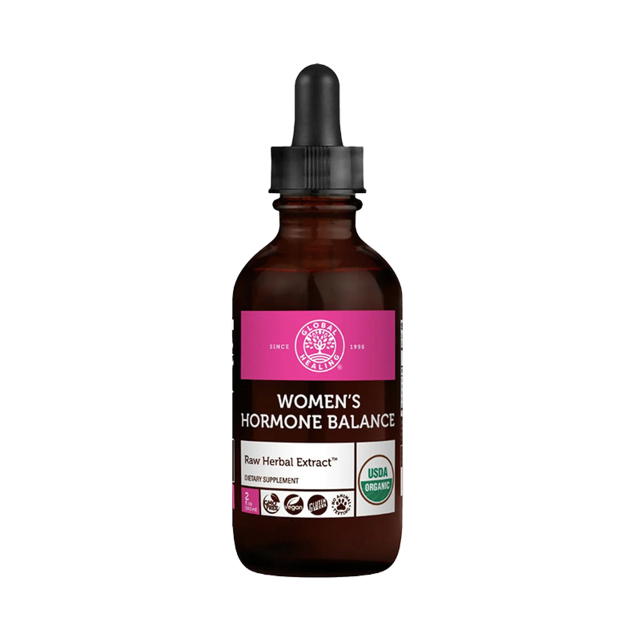 View the front of a bottle of Global Healing Women's Hormone Balance.