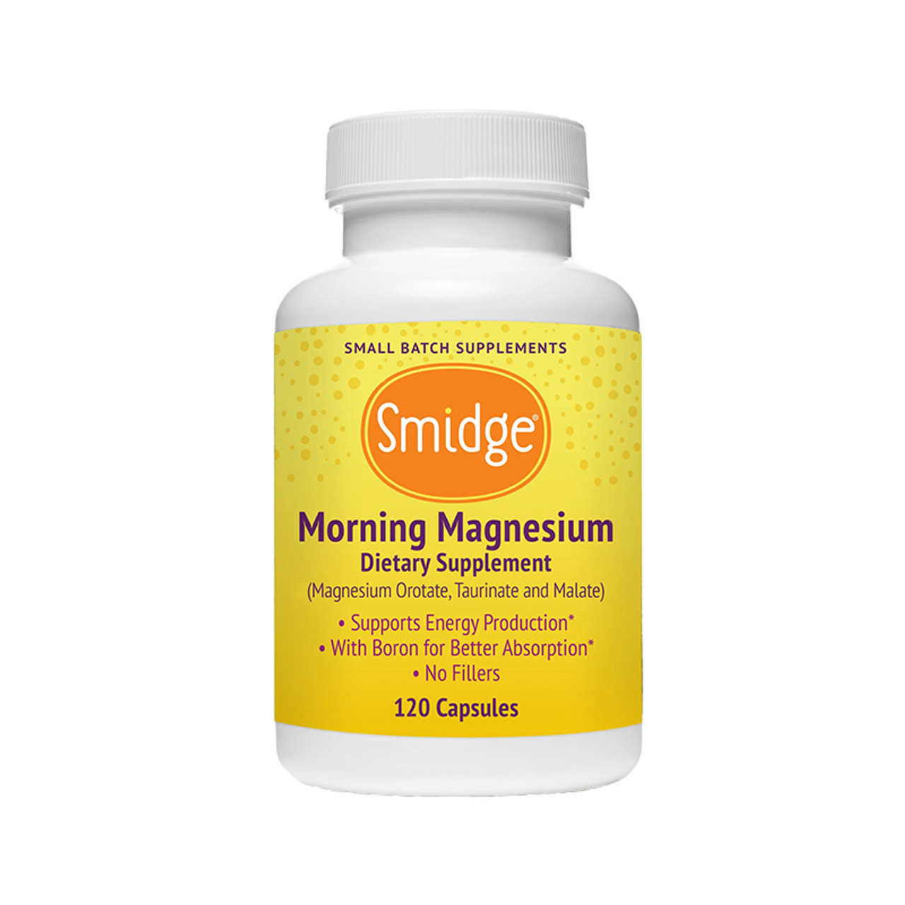 Picture of the front of a bottle of Smidge Morning Magnesium, previously Wake Up Maggie from Organic3.