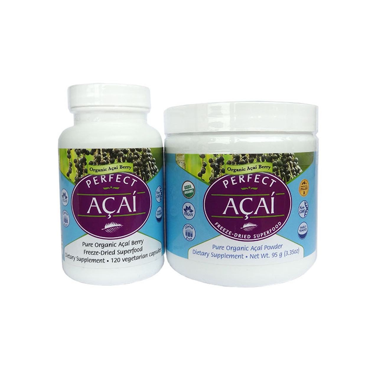 Front view of  Acai capsules and powder from Perfect Supplements.