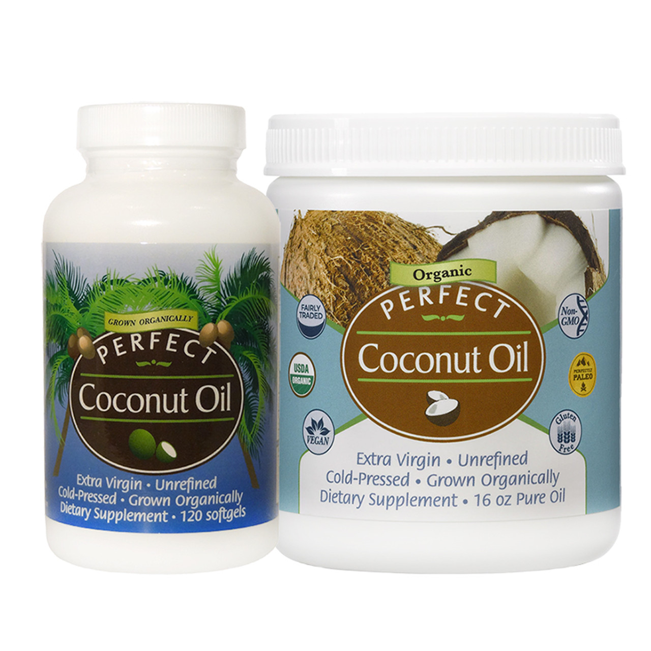 Front view of a bottle/container of Extra Virgin, Cold Pressed  Perfect Coconut Oil from Perfect Supplements.
