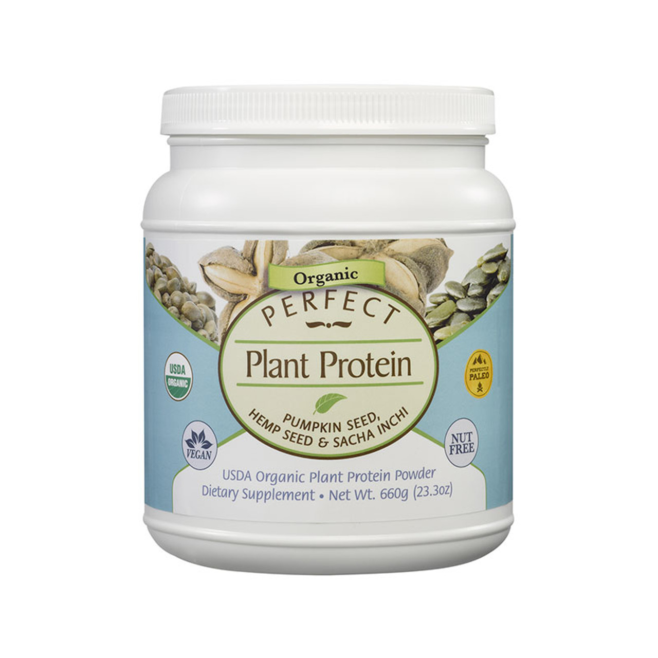 Front view for a bottle of organic, vegan and ethically sourced Perfect Plant Protein.