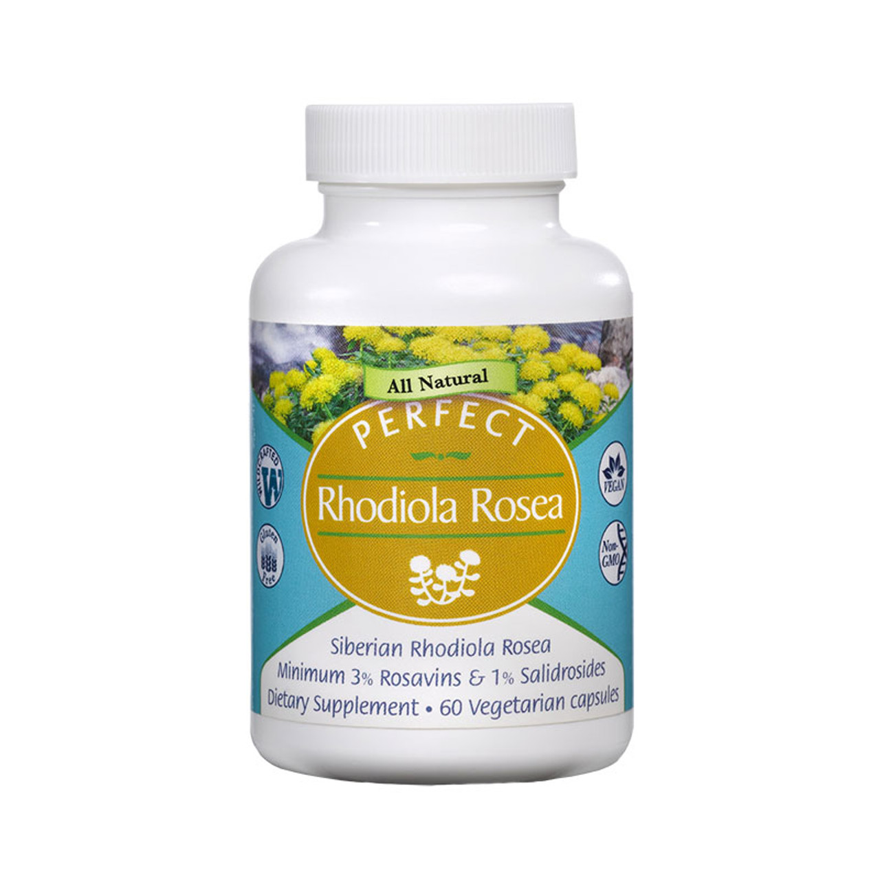 Front view of a bottle of Perfect Rhodiola Rosea from Perfect Supplements.