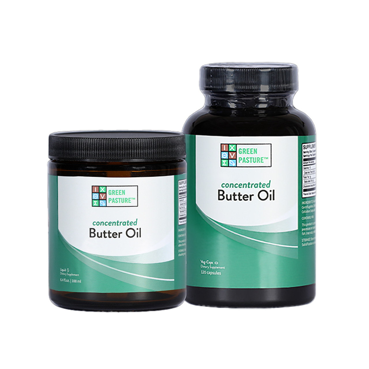 Front view of Green Pasture X-Factor Gold High Vitamin Butter Oil Liquid and Capsules.