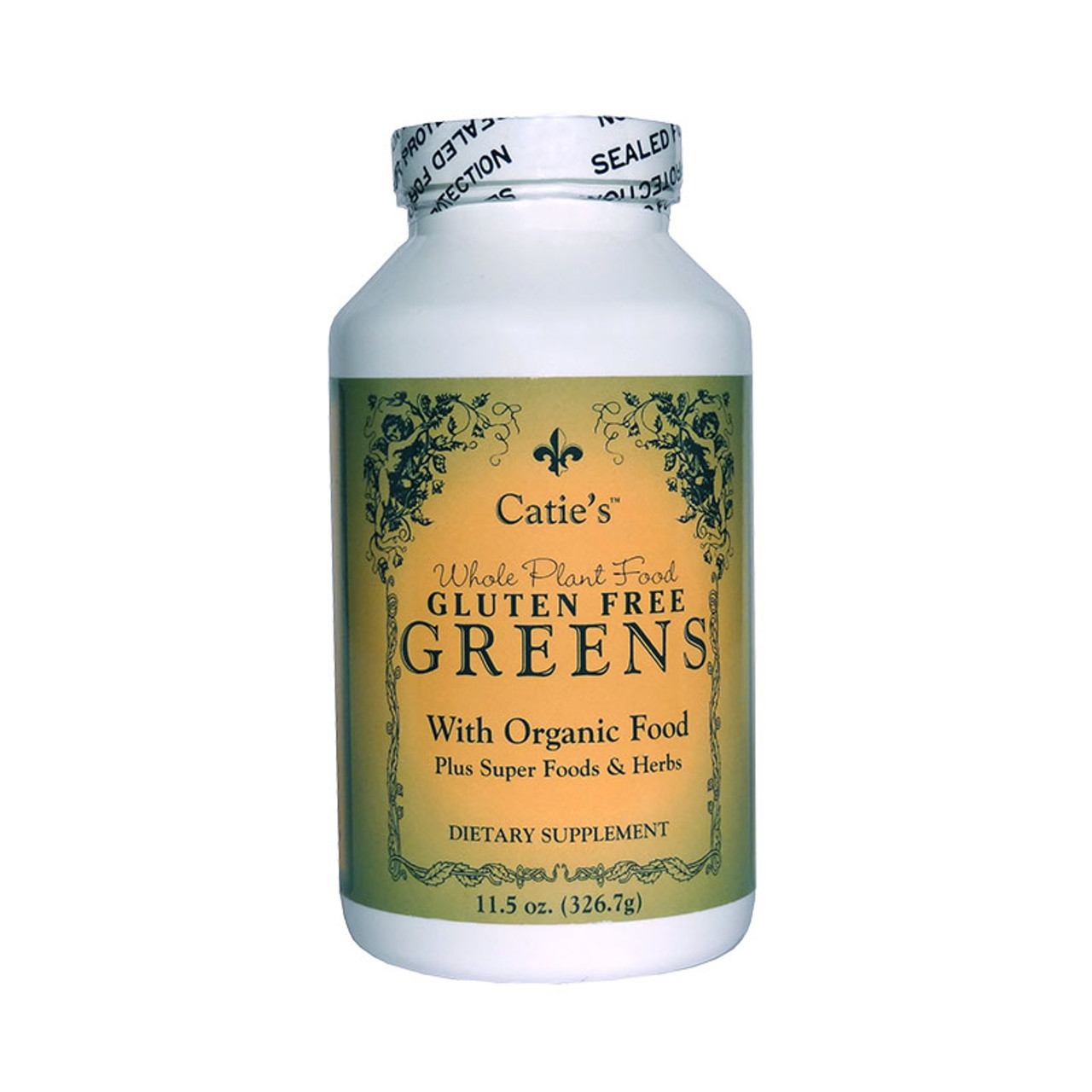 Front view of a bottle of Catie's Organic Gluten Free Greens .