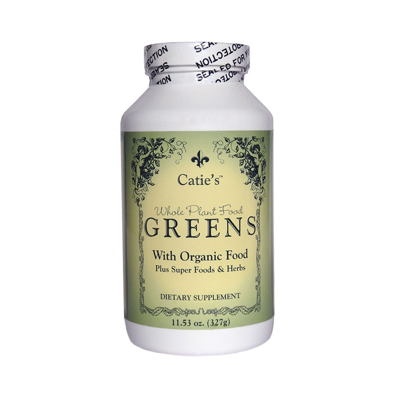 Front view of a bottle of Catie's Whole plant food Greens with organic food.