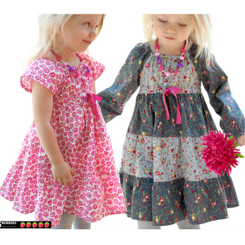 Astra peasant dress pattern for girls, toddler