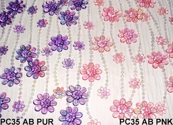 Pink Daisies Beaded Curtains - 3 Feet by 6 Feet