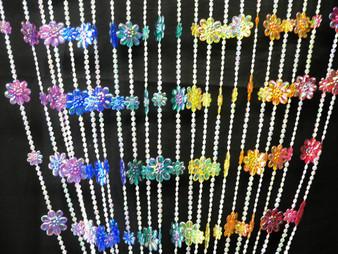 Rainbow Daisies Beaded Curtains - 3 Feet by 6 Feet