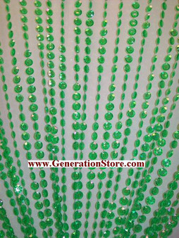 Green Iridescent Diamond Beaded Curtains - 3 Feet by 12 Feet