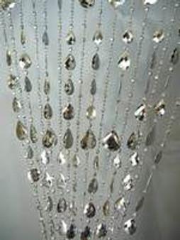 Silver Large Teardrop Beaded Curtains - 3 Feet by 6 Feet