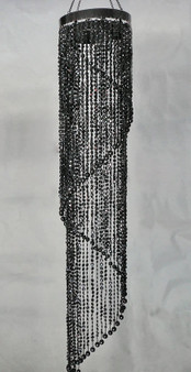 Spiral Chandelier with Diamond Cut Beads  Black Color 4 Feet Long