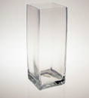"""Block Glass Vase 4"""" x 4"""" x 12"""" Ideal for Any Event"""