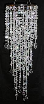 Crystal large multi diamond cut beaded chandeliers.