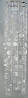 Chandelier with Crystal Multi Diamond Cut Beads and White Faux Capiz