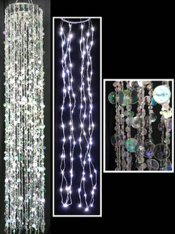 Double Layer Beaded LED Chandelier - Crystal / Silver