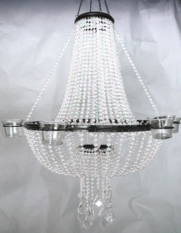 Empire Chandelier Crystal Ball Chain With Candle Votives On Sides.