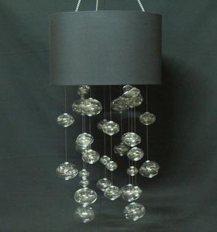 Glass Globe Chandeliers with Black fabric