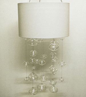 Glass Globe Chandeliers with white fabric