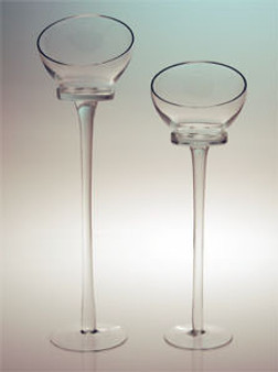 """Glass Pedestal Hurricane Candle Holder 18"""" Great for Pillar Candles"""
