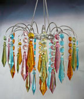 Multi Pastel Acrylic Drop Large Beaded Chandelier Hand Hooked