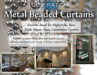 Custom Made Metal Hanging Beaded Curtains -  Ball Chain Screen Curtains